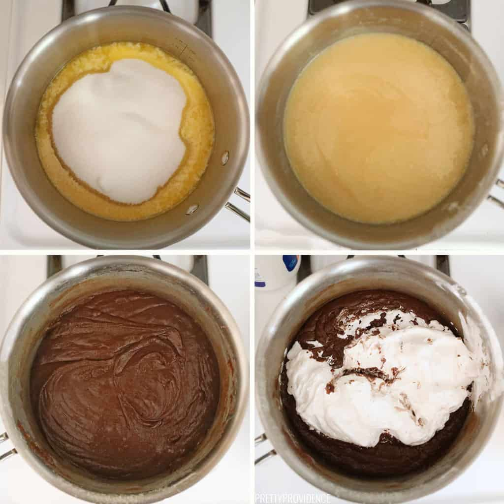 collage of steps to make fantasy fudge in saucepan