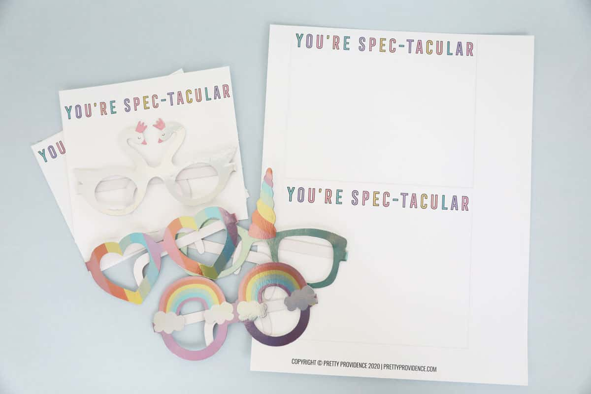 Kids valentines cards printable with paper glasses