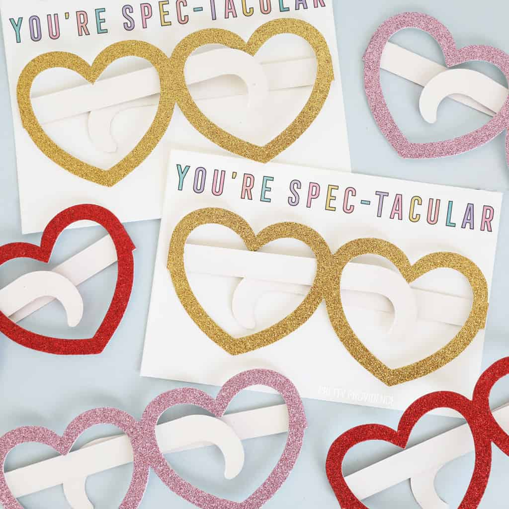 Kids valentine card 'You're Spectacular' with glitter heart glasses made of paper