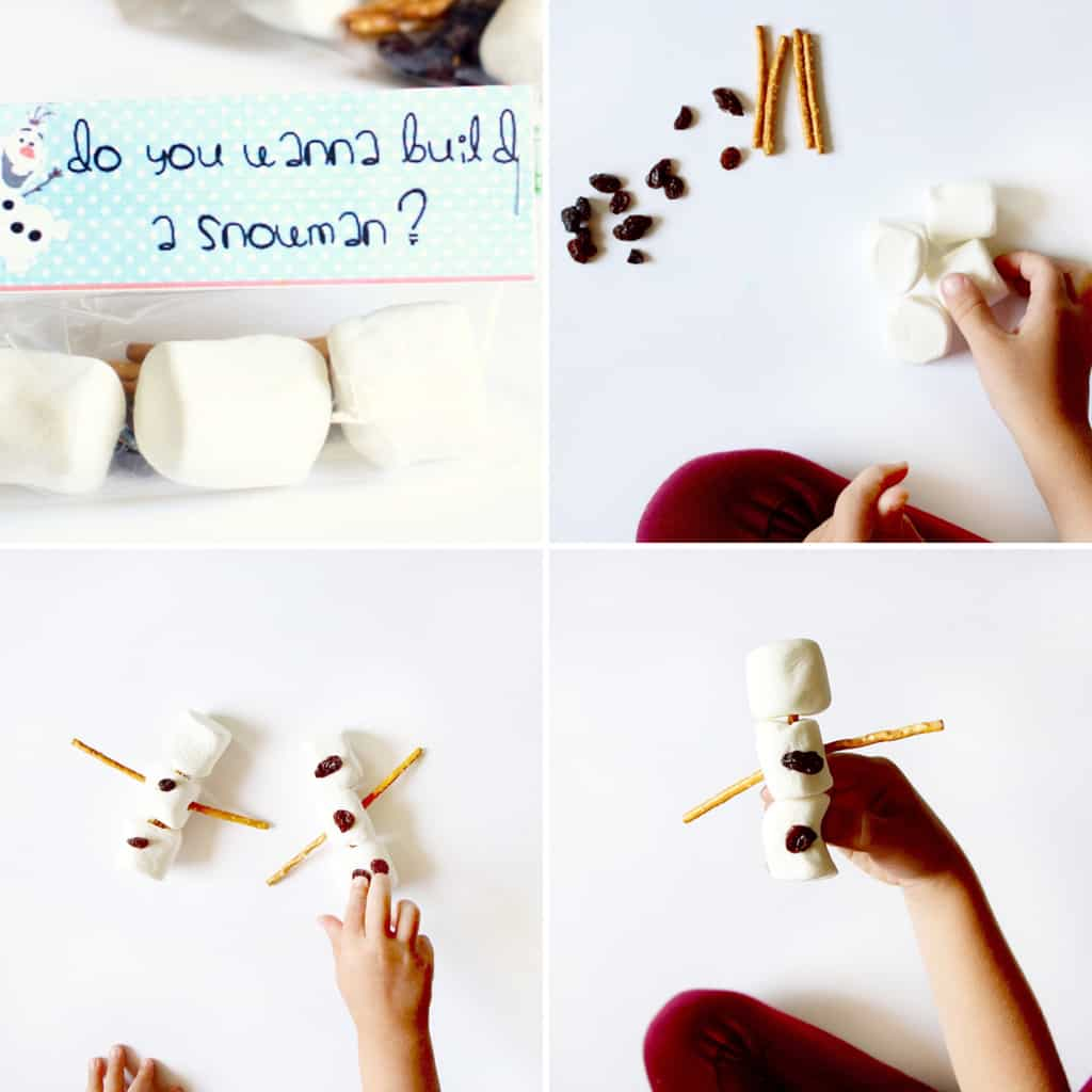 four images in a collage showing how to make kids snowman activity using marshmallows