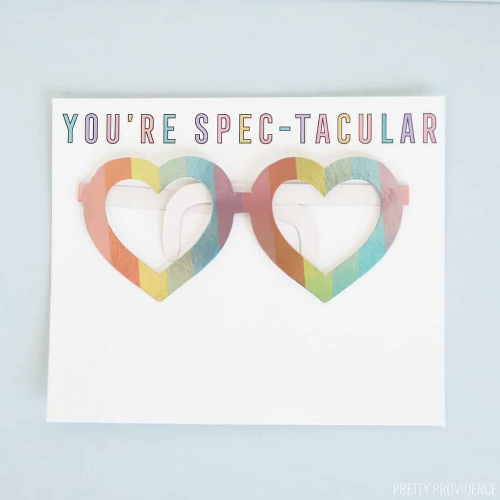 Valentines Card for kids printed on white cardstock with heart glasses taped on