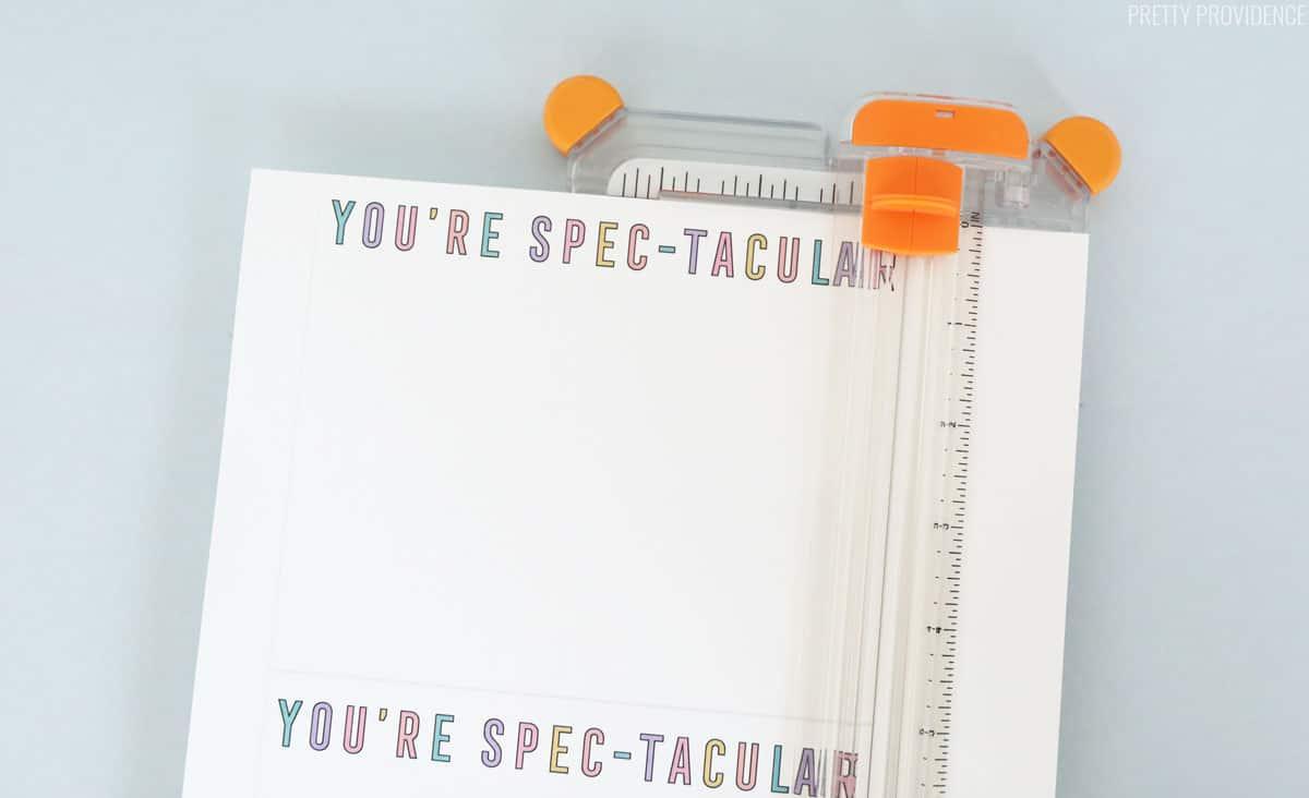 Valentine printed on white paper in a fiskars paper cutter