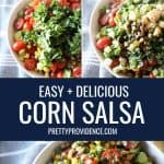 steps of how to make corn salsa in a collage for pinterest