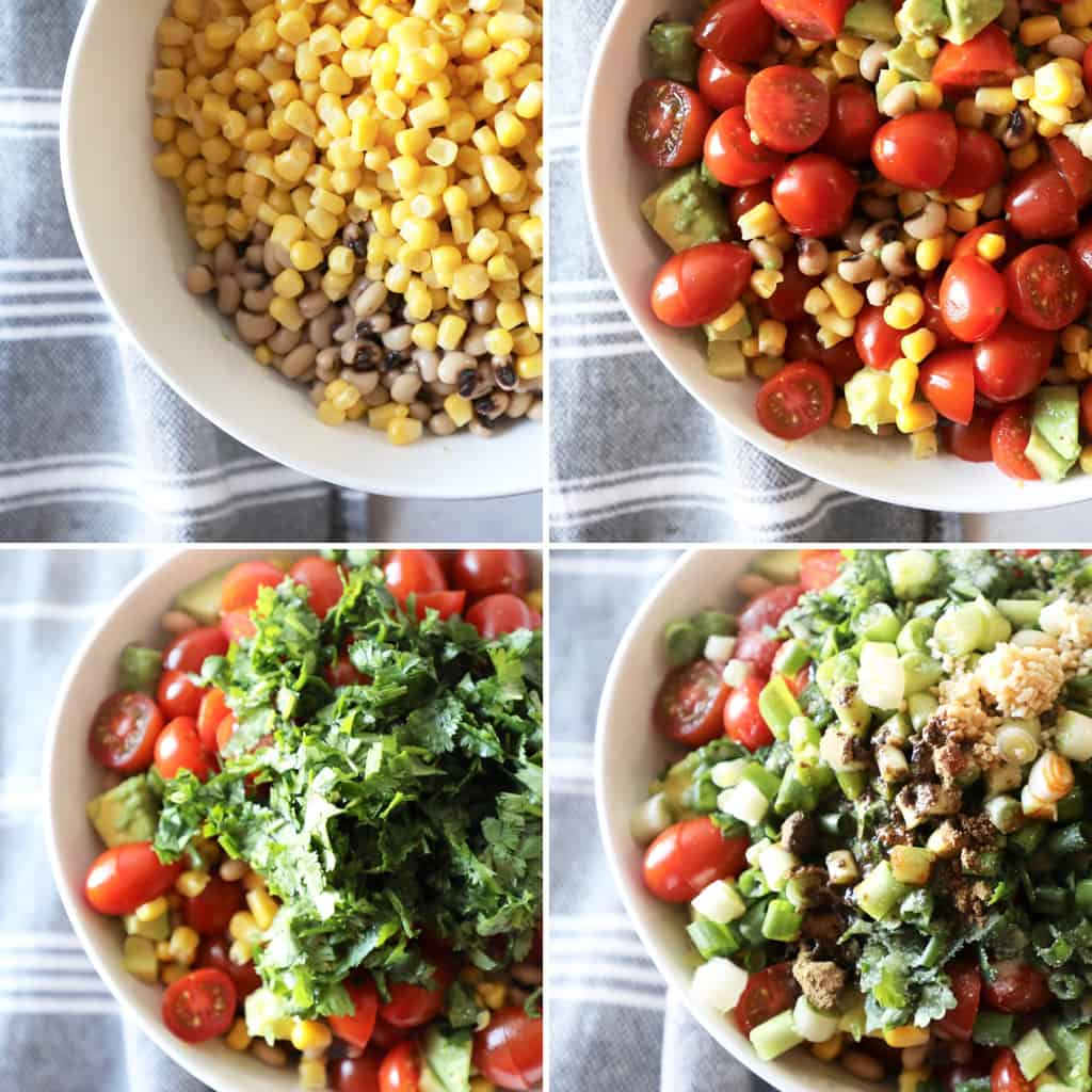 four step by step photos for how to make corn salsa