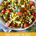 large white bowl of corn salsa with text optimizing for pinterest