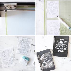 step by step photos for cutting vinyl for front of blank journals