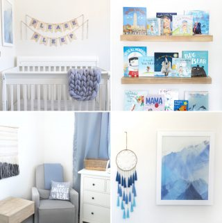 four image collage of a blue themed nursery