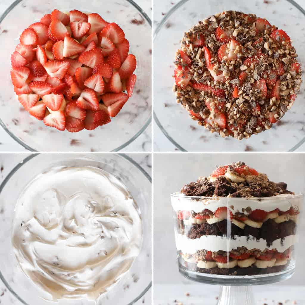 how to pictures for assembling a brownie trifle in a collage