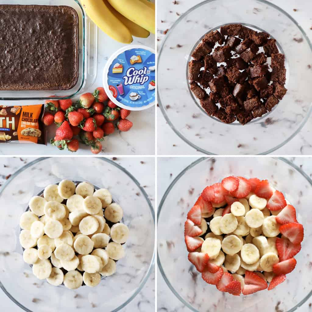 step by step images of the making of a brownie trifle