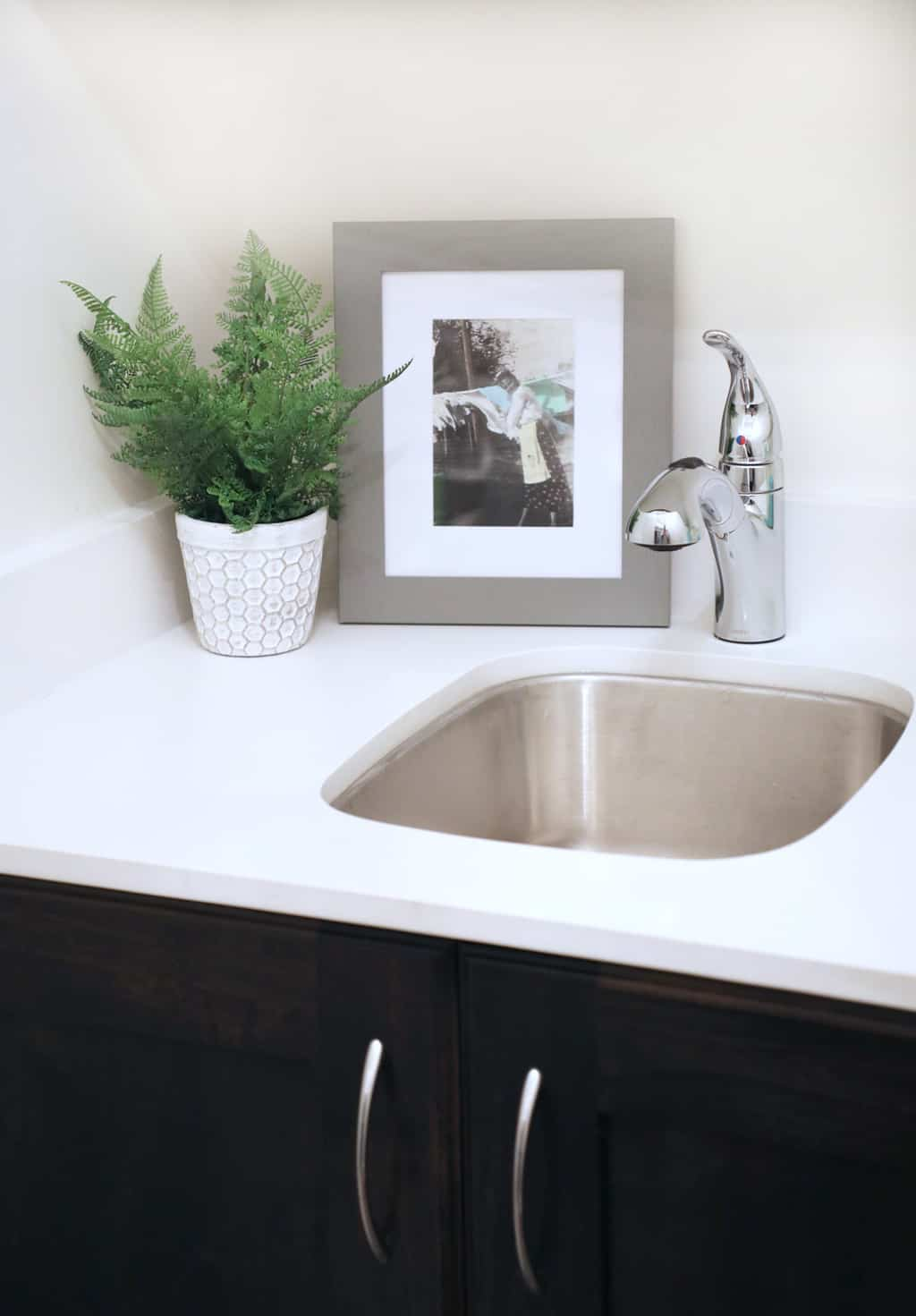 small corner sink in laundry room next to plant and picture frame