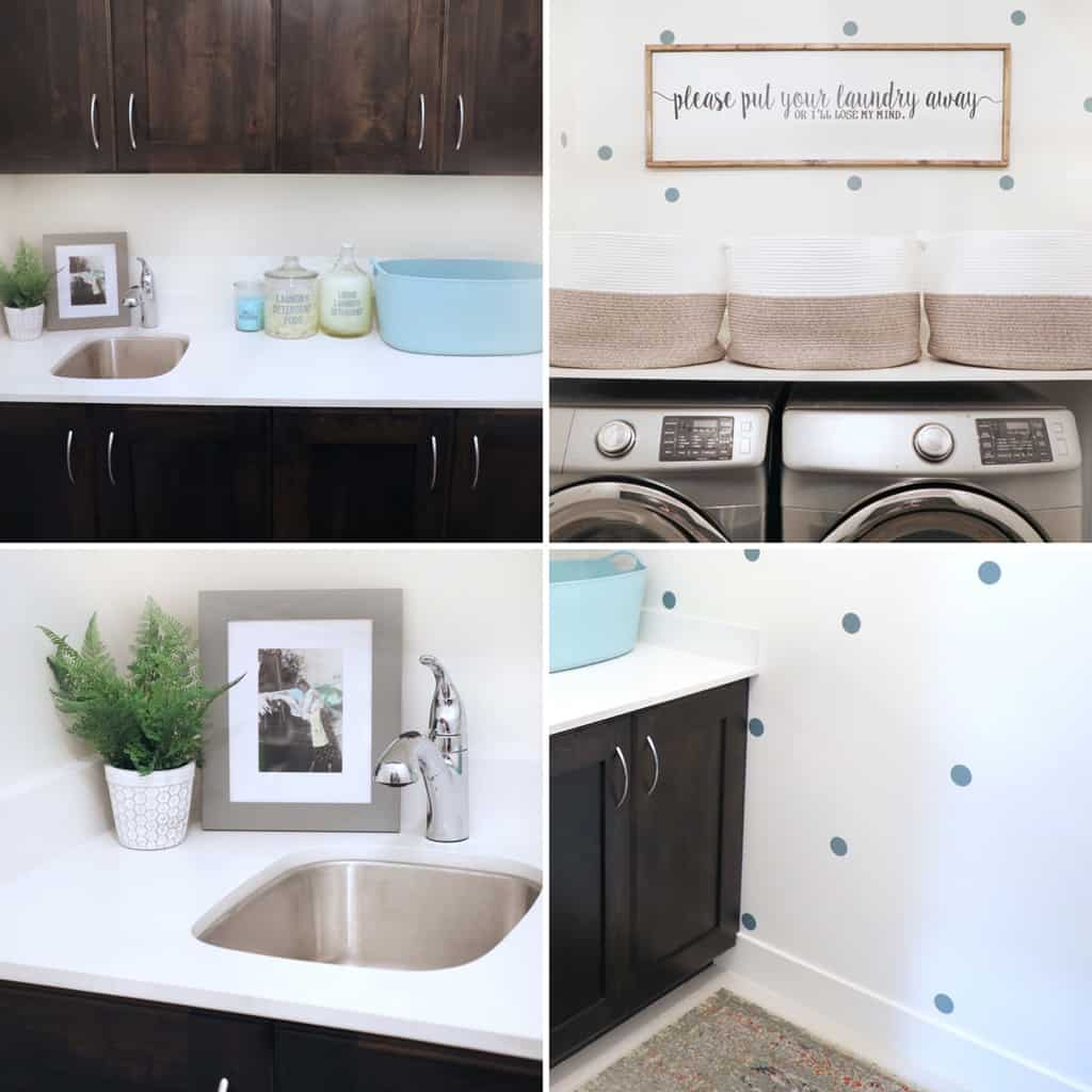 collage image of four points of view in a small laundry room