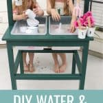Kids playing with water at green water table with measuring cups and funnels