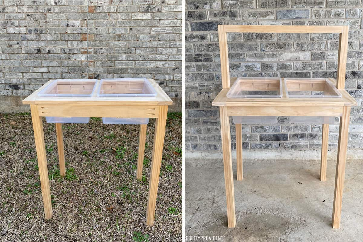 DIY Water table process shots, left, just assembled, right sanded and holes filled