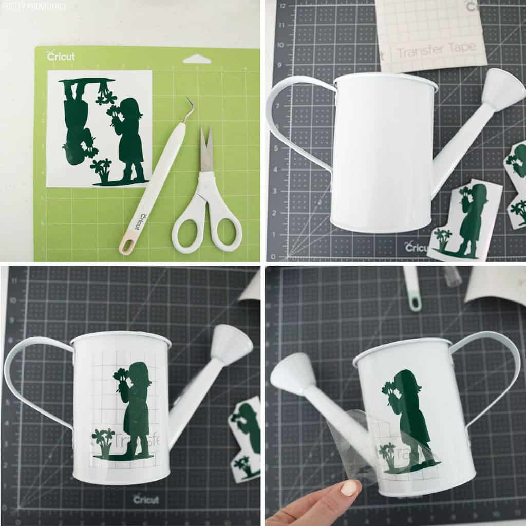 collage showing the steps to put a vinyl decal on a white watering can
