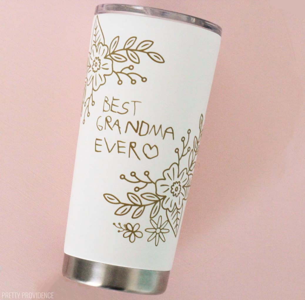 Personalized gift for Grandparent vinyl tumbler with kids handwriting and floral design