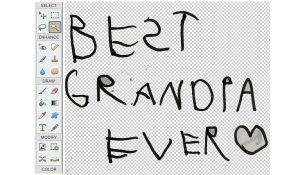 handwritten 'best grandpa ever' with transparent background in photoshop elements