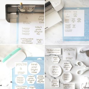 Step by step photos of how to make DIY tags with a Cricut machine