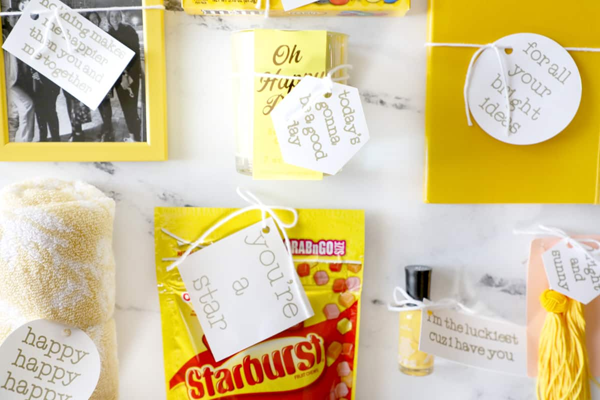 yellow gift items with handmade tags