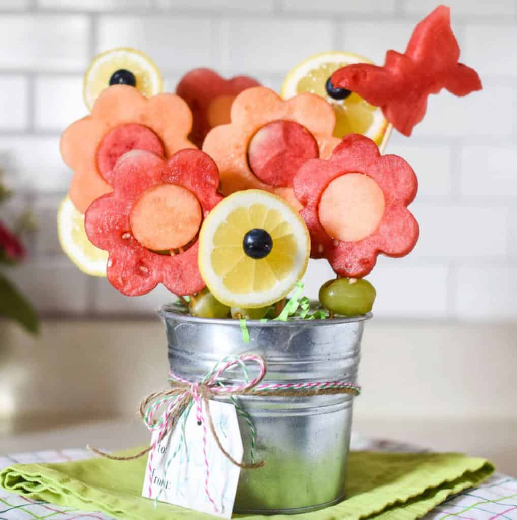 Homemade fruit bouquet like Edible Arrangement from The Inspired Home