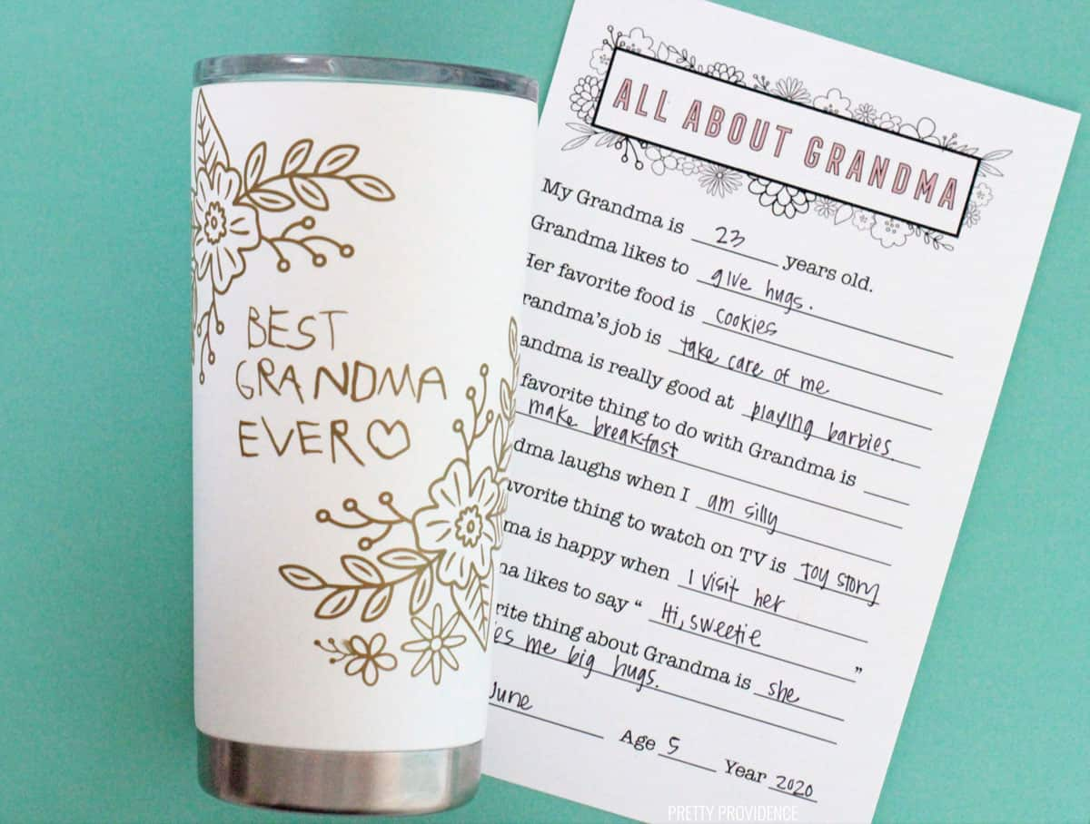Personalized Grandma tumbler and questionnaire for Mother's Day