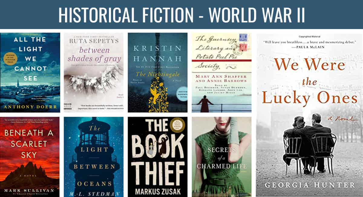 Historical fiction books collage, world war II
