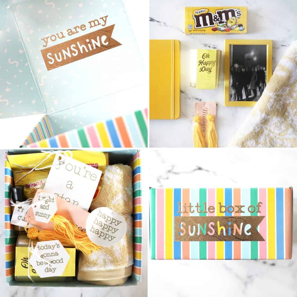 photos of assembling a box of sunshine in a collage