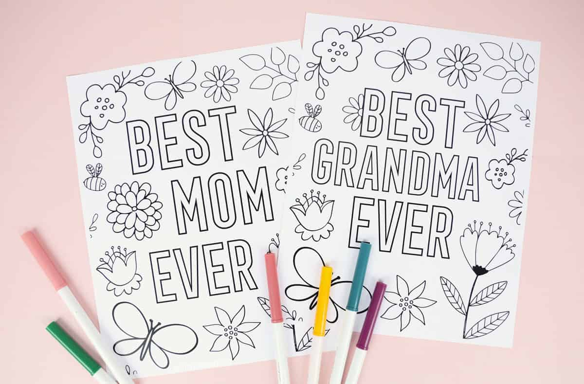 floral Mother's Day coloring pages for mom and grandma 'Best Mom Ever' and 'Best Grandma Ever'