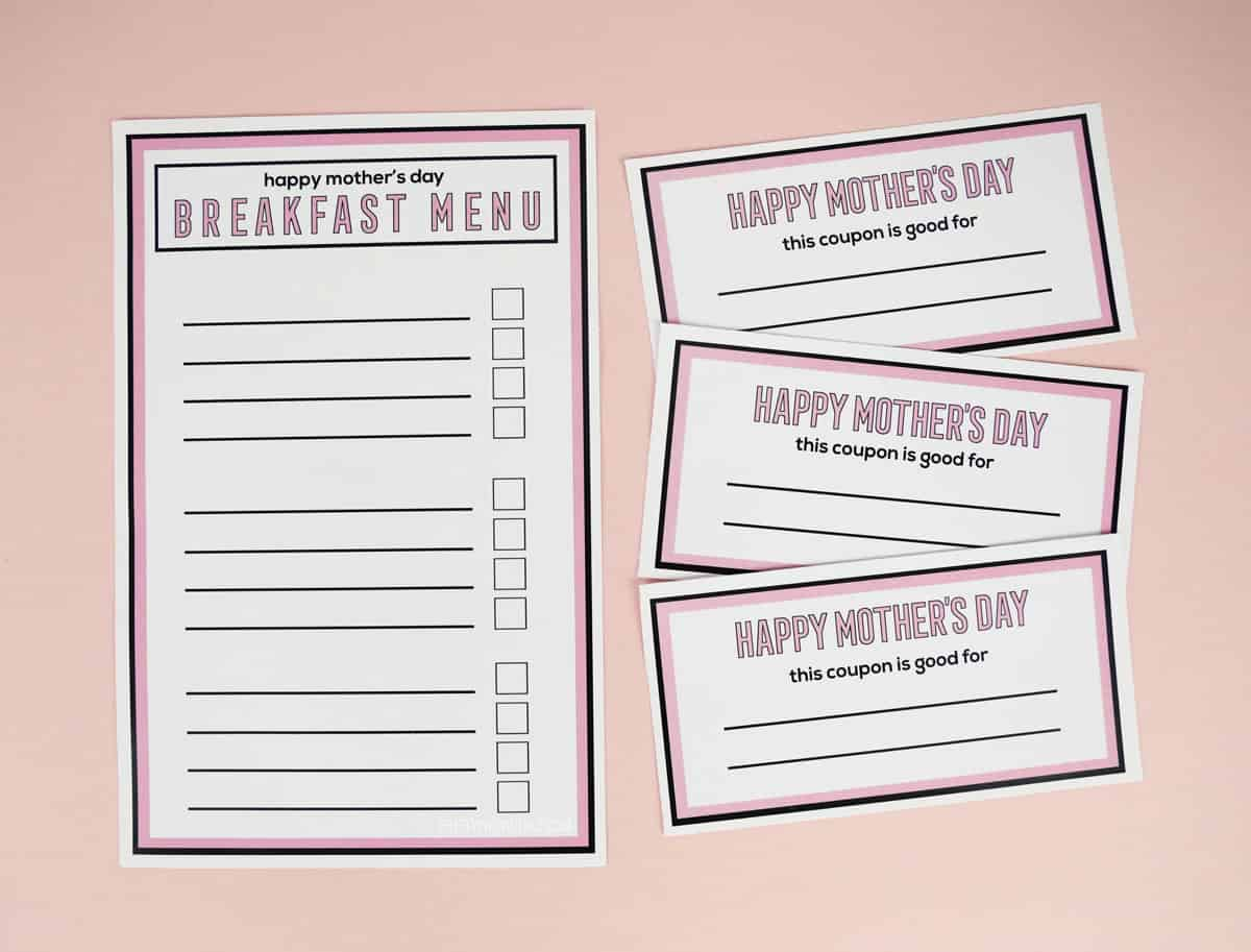 three Mother's Day coupons and a fill-in-the-blank breakfast menu for Mother's Day