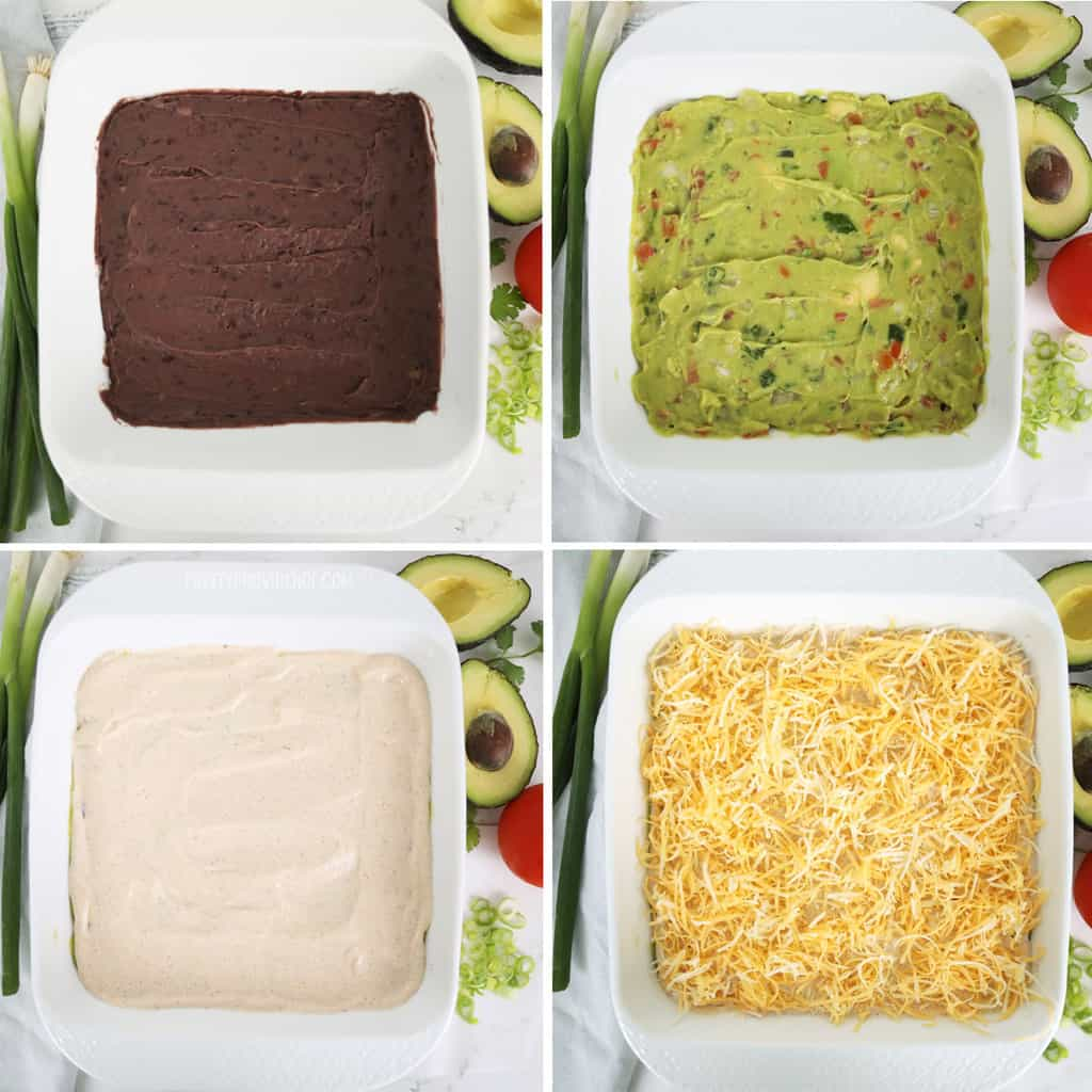 Seven Layer Bean Dip step by step collage