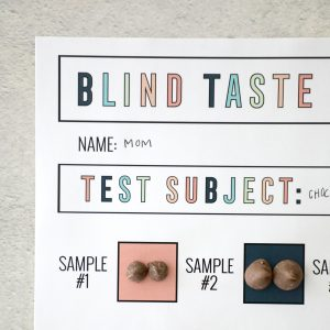picture of a blind taste test form with chocolate chips on it