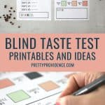 two images of blind taste test printables optimized for pinterest