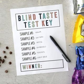 Blind taste test printable worksheet with chocolate chips and a pen