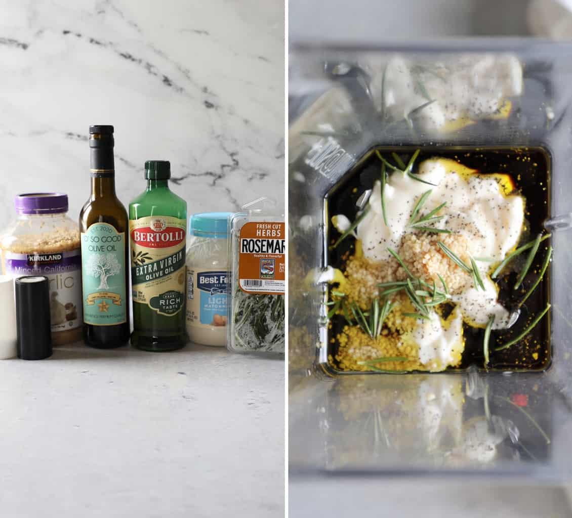 ingredients for balsamic bread dip and blender full