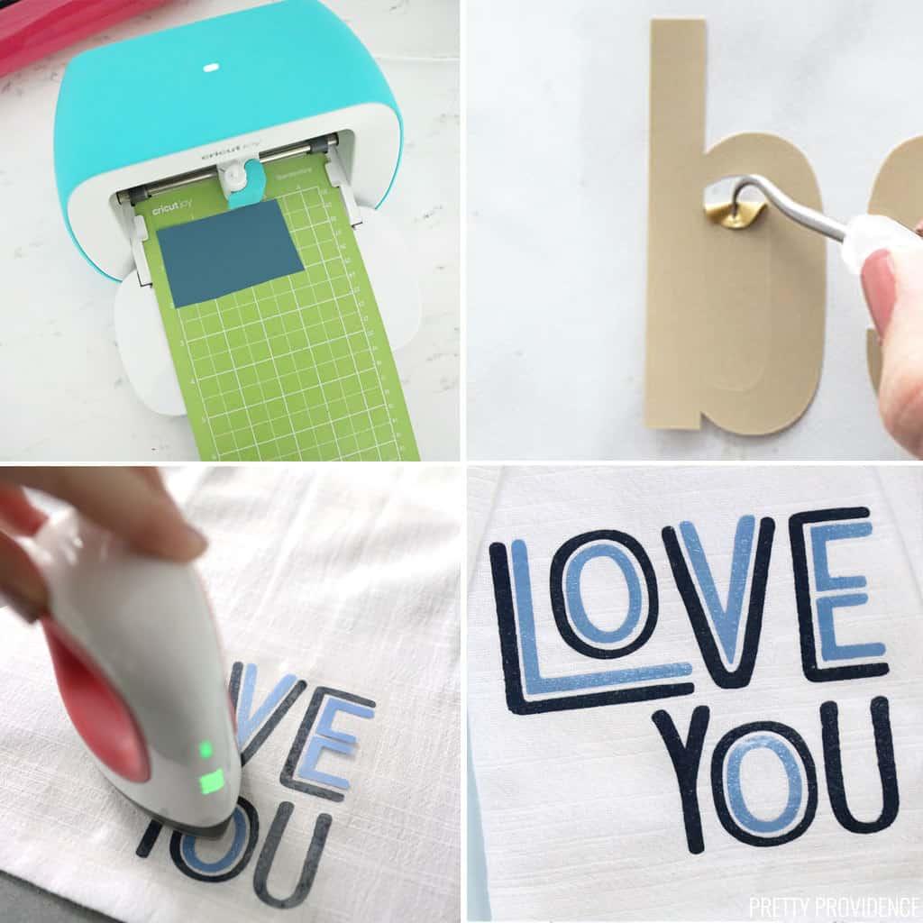 collage du Cricut joy en coupant du vinyle thermocollant, en désherbant le vinyle et en utilisant Easypress mini pour appliquer de la chaleur