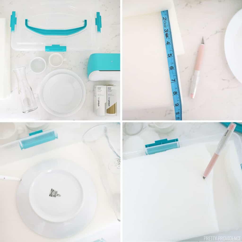 Vaisselle bricolage étui de transport collage étape par étape