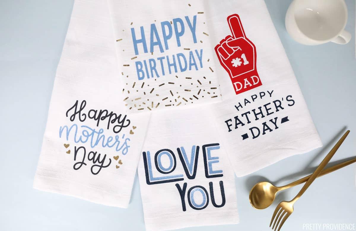 Serviettes de bricolage pour occasions spéciales: fête des mères, anniversaire, fête des pères et «je t'aime»