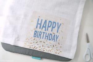 happy birthday napkin on cricut easypress mat
