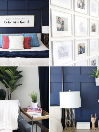 collage image of snapshots of master bedroom decor