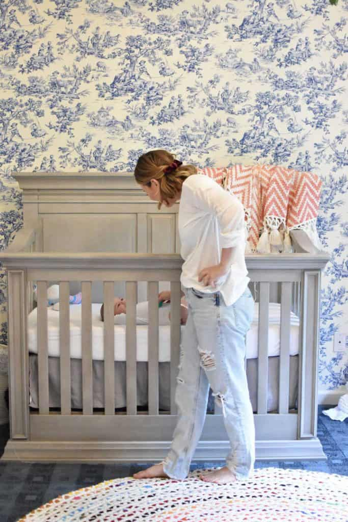 Nursery wallpaper made from fabric with ablue toile print