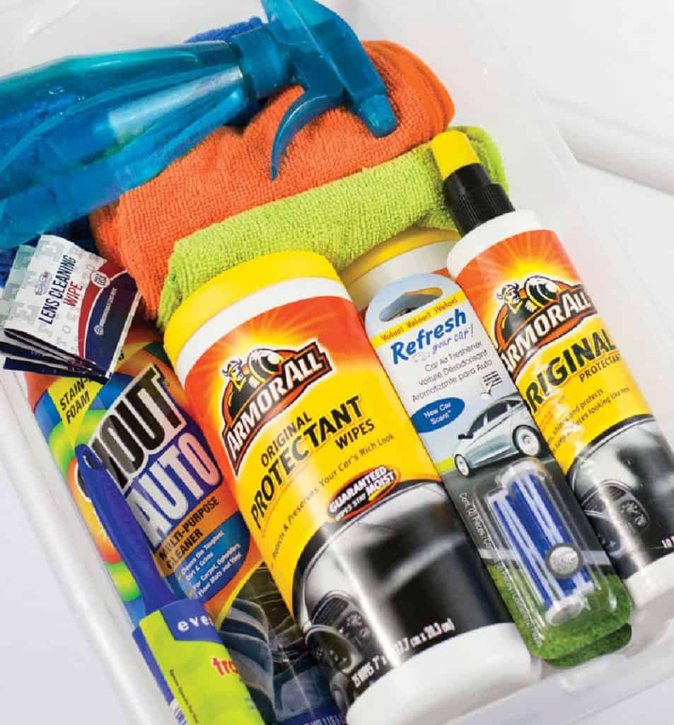 Car cleaning items in a plastic bin