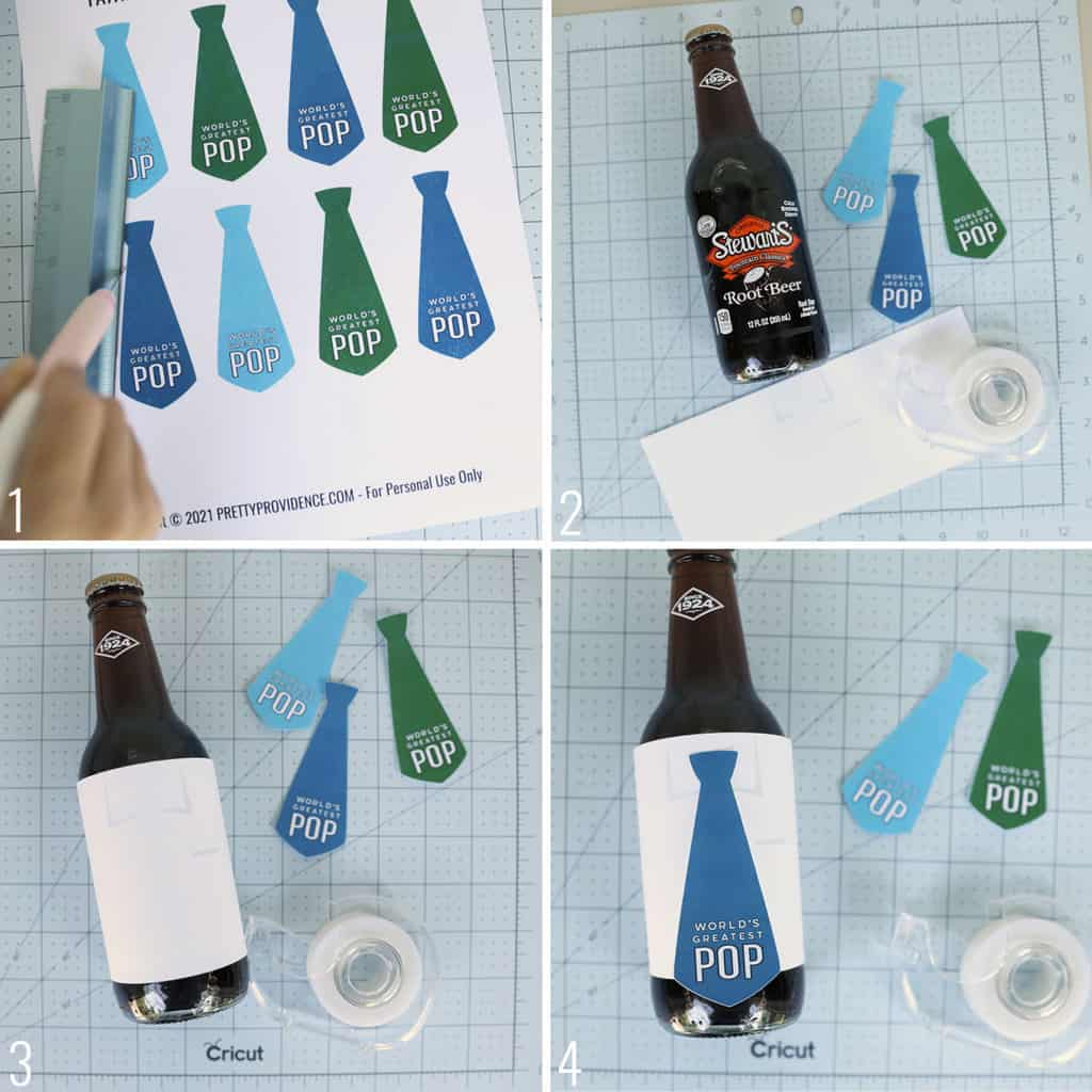 Father's day printable gift tags in the shape of neckties, collage of how to apply them to root beer