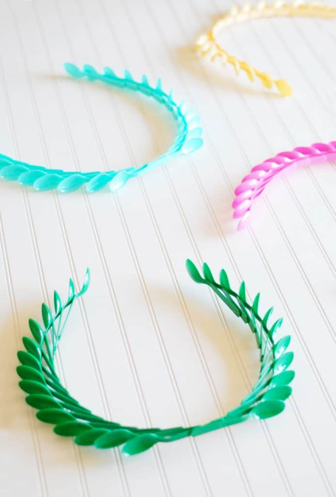 Laurel Crowns made from plastic spoons in different colors