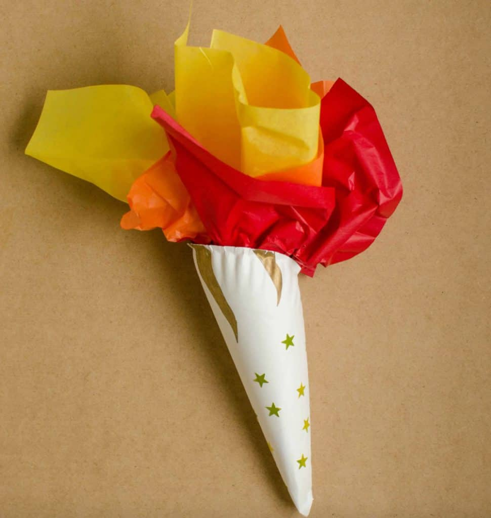 Olympic torch craft for kids with paper plate and tissue paper