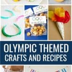 Collage of Olympic themed party crafts and recipes