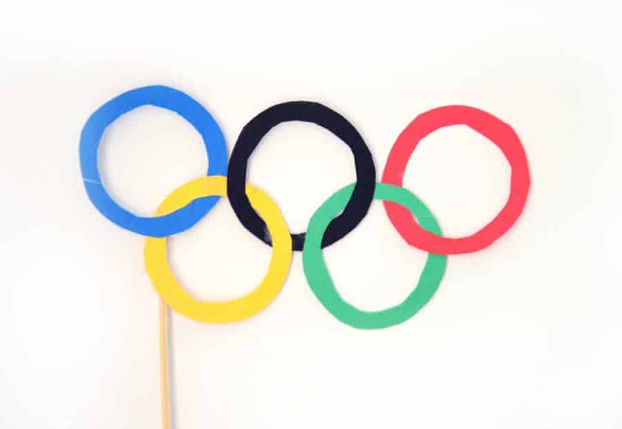 Olympic Rings Glasses on a wooden dowel Craft