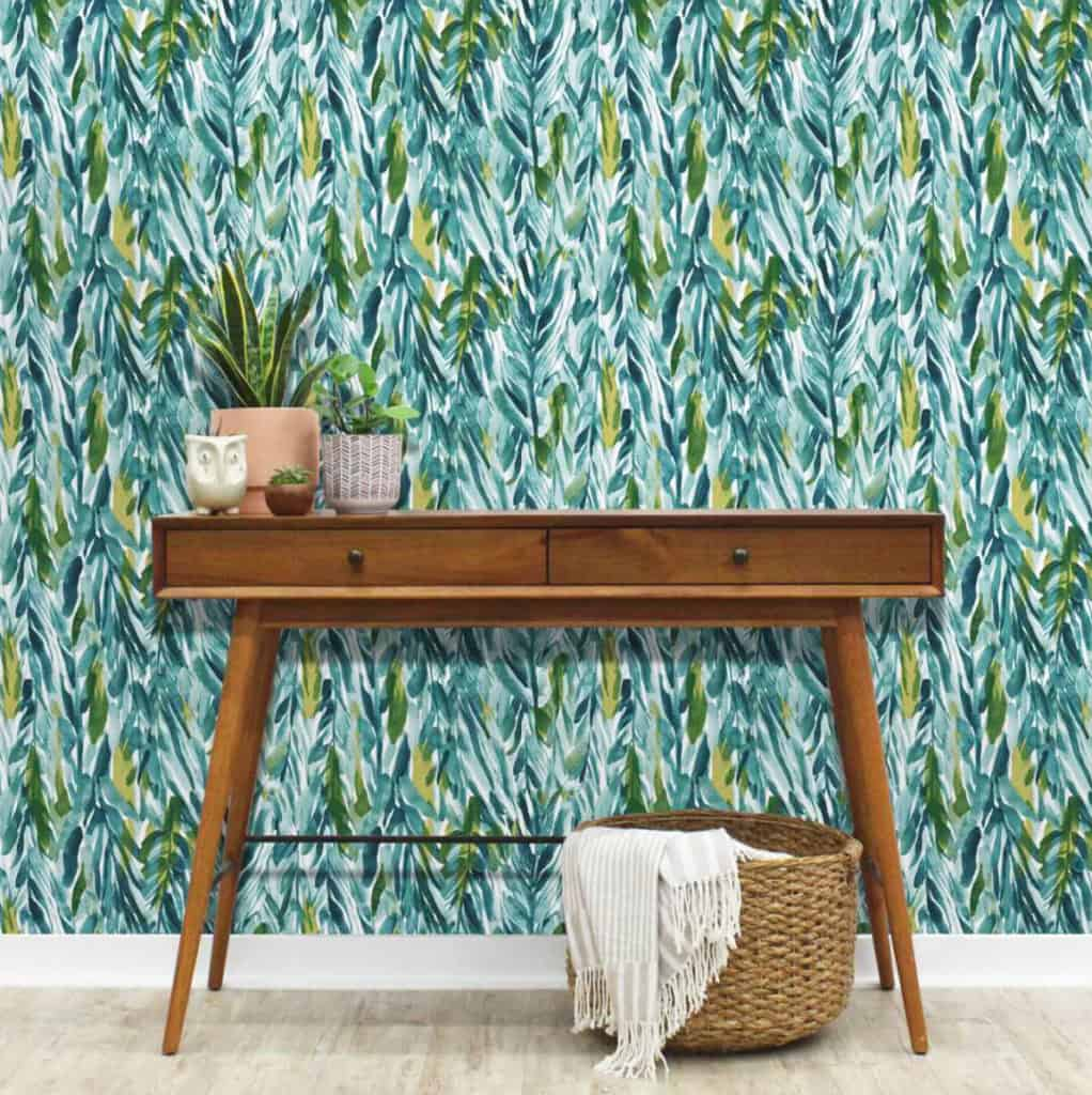 Leaves wallpaper with desk in front of it from Target