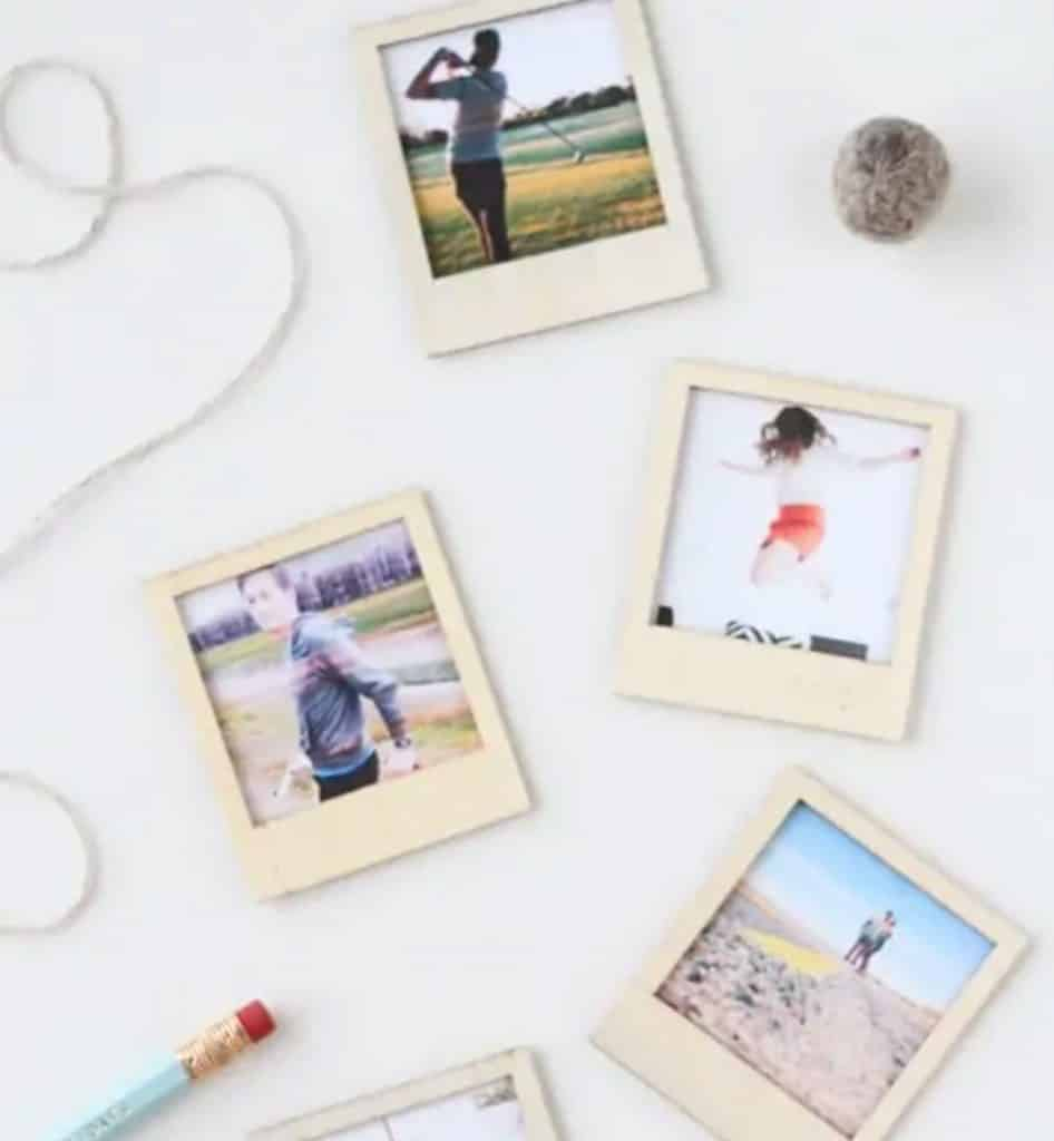 DIY Wooden polaroid magnets from Sugar and Cloth