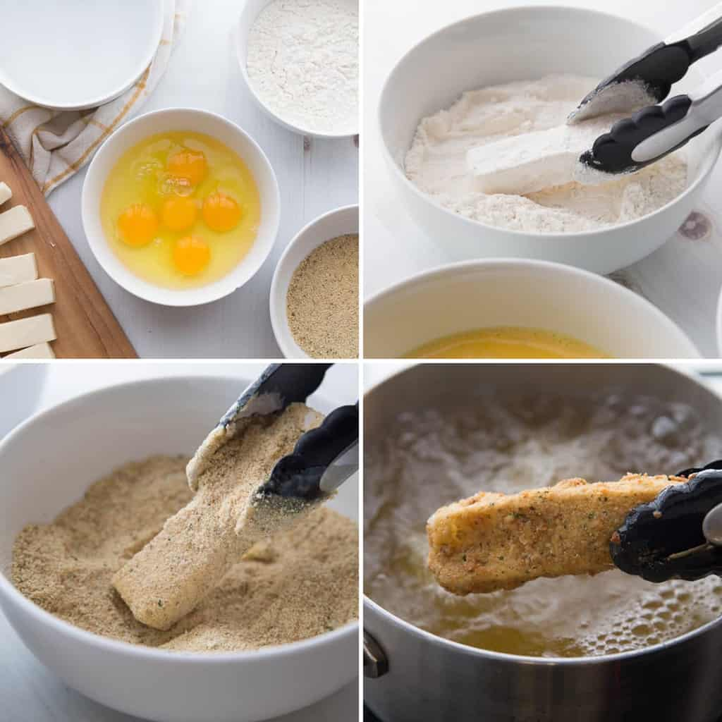 step by step photos of how to make cheese sticks in a collage