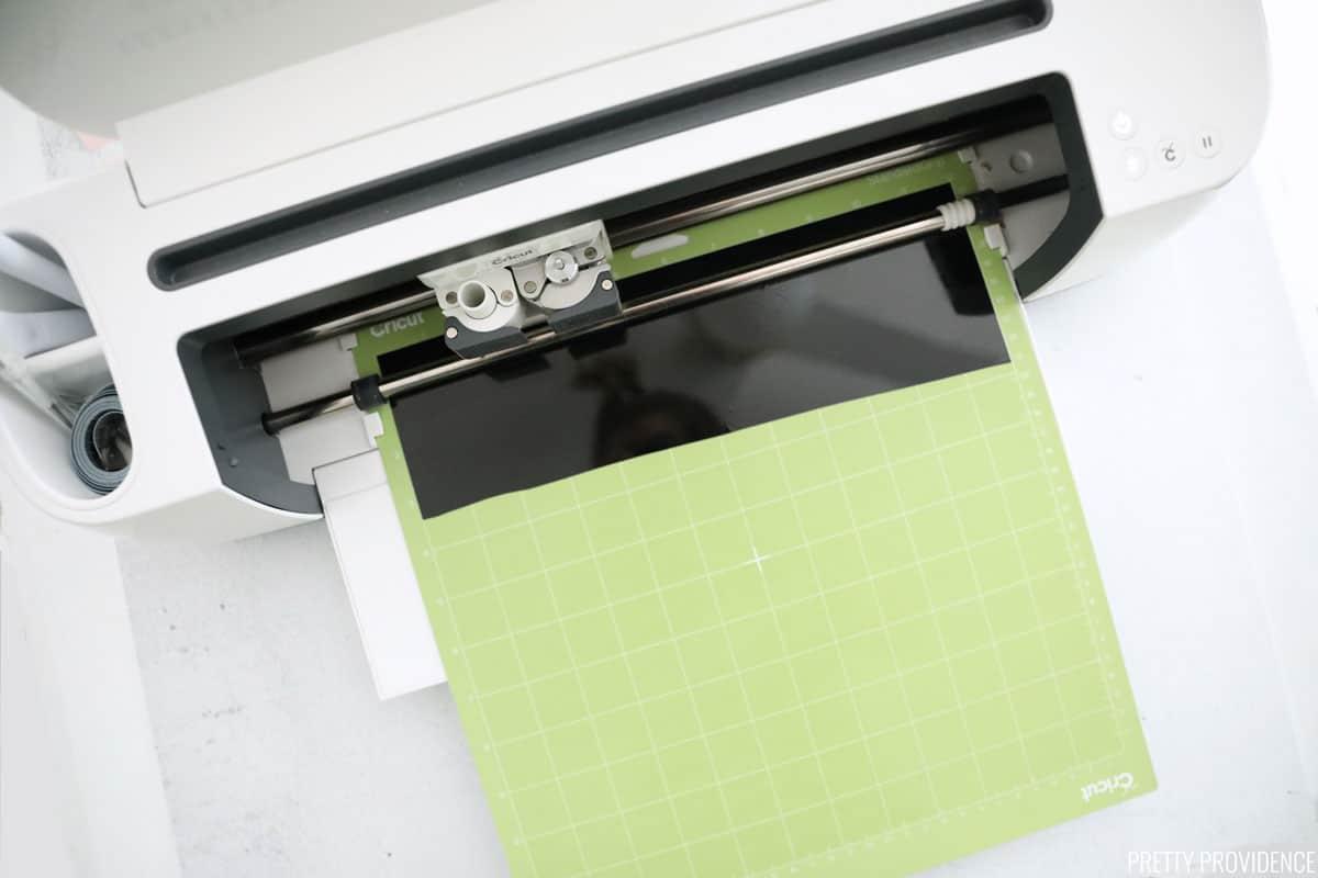 Vinyl on green Cricut mat