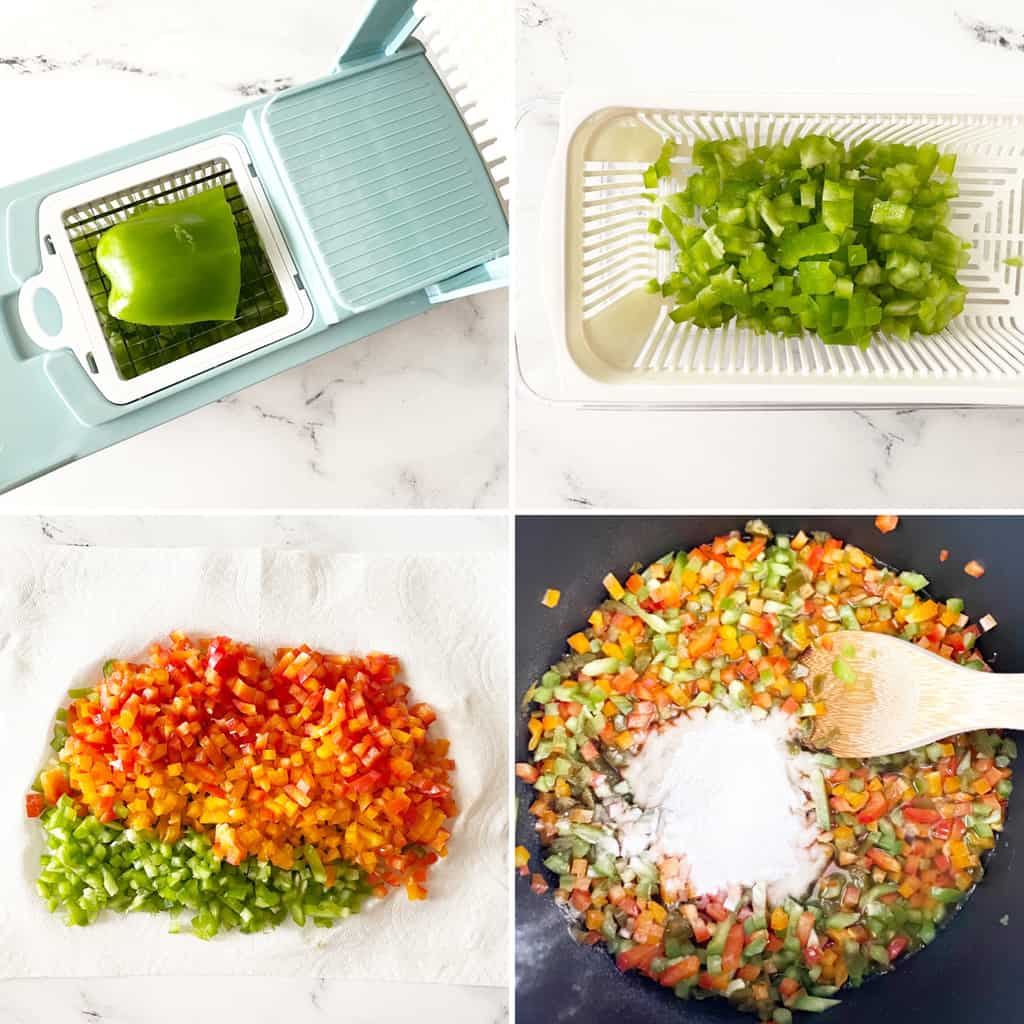 four photos in a collage showing how to prep for hot pepper jelly